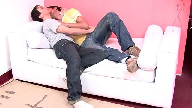 Candy Beginner Gays Julian And Moxi Kissing Their Our Bodies At The Sofa