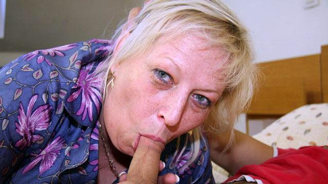 Hefty Grannie Engulfs Rigid Manhood