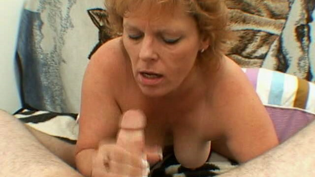 Trashy Grannie With Humungous Titties Megan Provides Bj And Hand Job On Her Knees
