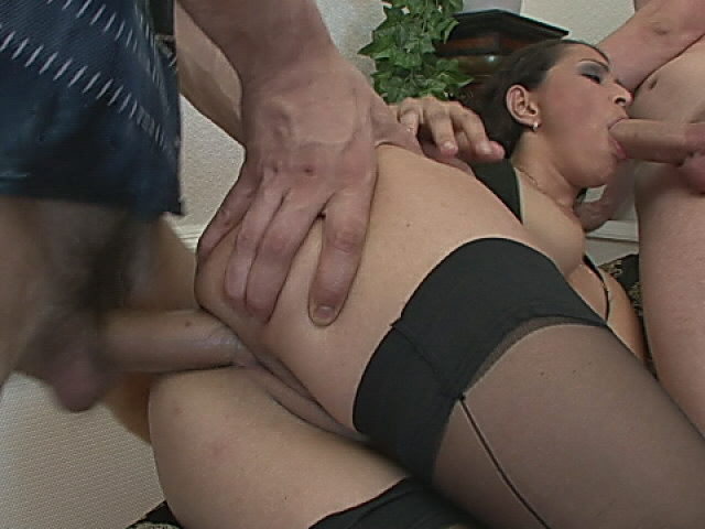 Spunky Brown-haired In Pantyhose Will Get Rectally Plowed And Provides Oral Pleasure In A Threeway