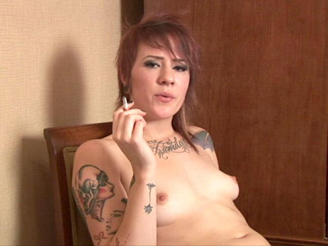 Inked Teenager Tart Sailor Smoking And Demonstrating Her Petite Skooners At The Stool