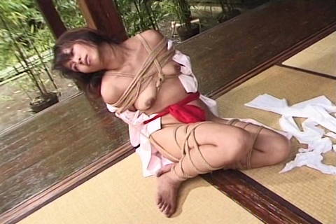 Asian Restrained In Cord Restrain Bondage Outdoor Through Dom
